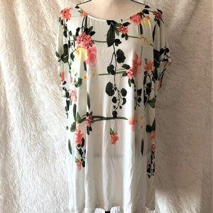 Philosophy Floral Short Sleeve Top Blouse 2X